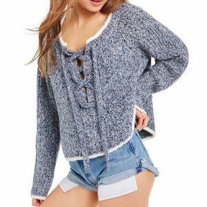 Wildfox Queen Oxford Lace Up Knit Sweater NWT Sz M